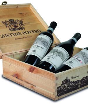 Cassetta di legno per 3 bottiglie di vino